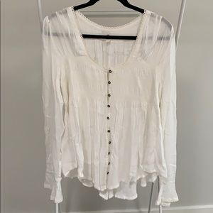 Free People Cream Bohemian Long Sleeved Blouse